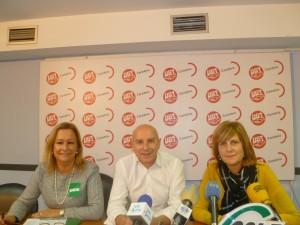 Pie de foto: de izquierda a derecha, María José Ruiz (SATSE), José Manuel Castillo (UGT) y Margarita Ferreras (CSIF)