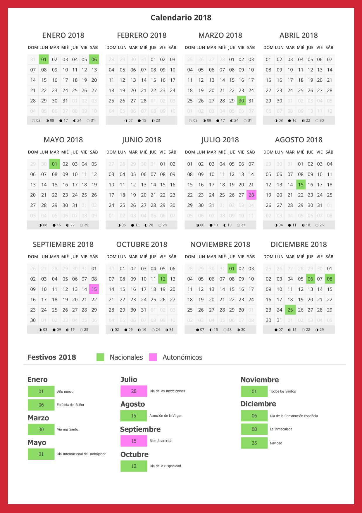 Calendar 2019 Valencia