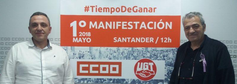 Los secretarios generales de UGT (izquierda) y de CCOO, en la rueda de prensa para anunciar la manifestación del 1 de Mayo en Santander