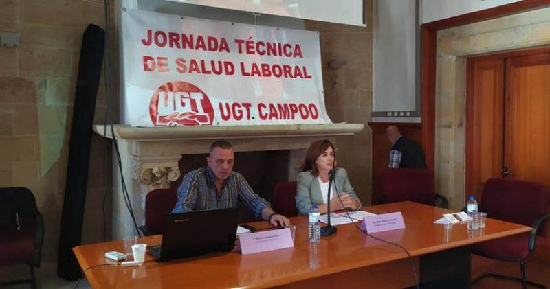 El secretario general de UGT en Cantabria, Mariano Carmona; y la consejera de Empleo y Política Social del Gobierno de Cantabria, Ana Belén Álvarez, en la clausura de la jornada