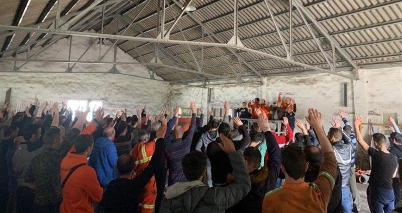 Asamblea de trabajadores de Sidenor en la fábrica de Reinosa. Europapress
