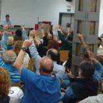 asamblea de trabajadores de la limpieza celebrada hace unas semanas en Santander