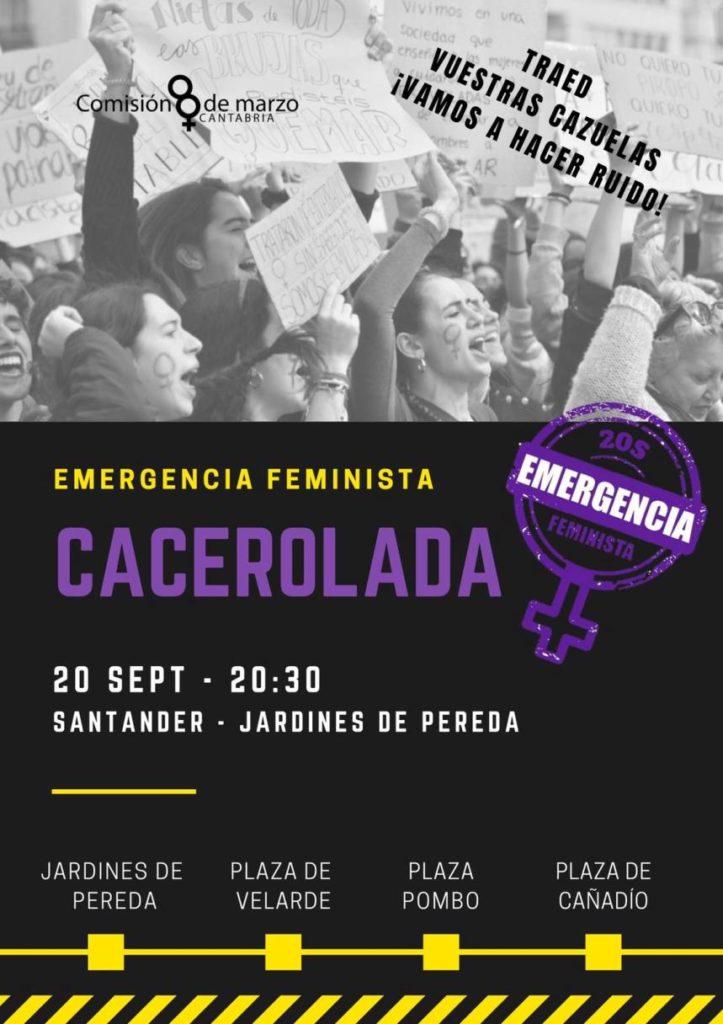 Cartel de la marcha de la noche de emergencia feminista en Santander