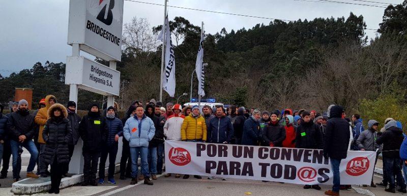 La huelga ha paralizado la actividad productiva de las fábricas de Bridgestone, incluida la de Puente San Miguel