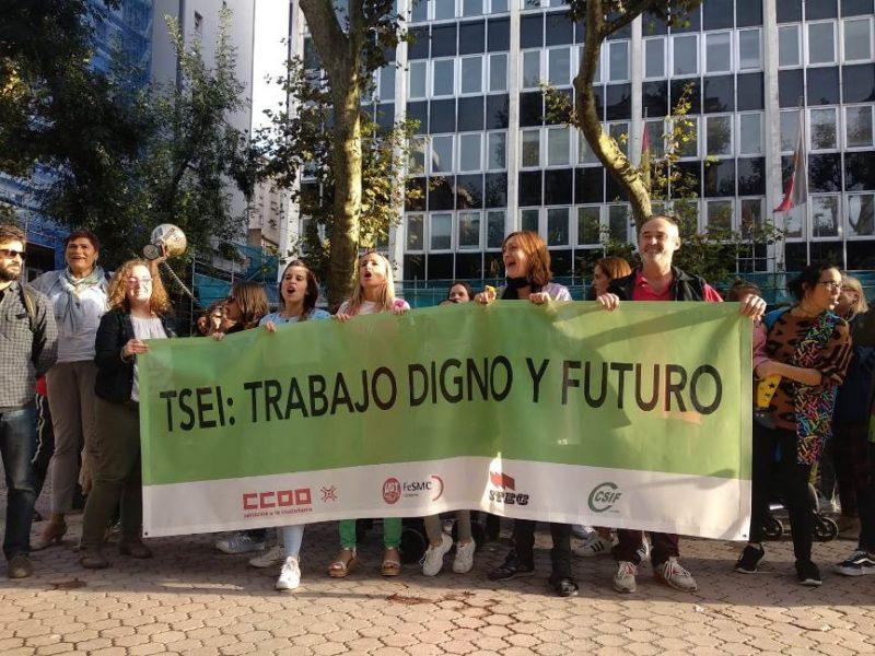 Técnicos superiores de educación infantil del SRECD, en una de sus concentraciones de protesta ante la Consejería de Educación