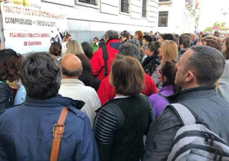 Imagen de la concentración en Santander, que exigió los 200 millones de euros prometidos contra la violencia de género, no los 80 anunciados en los PGE de 2018