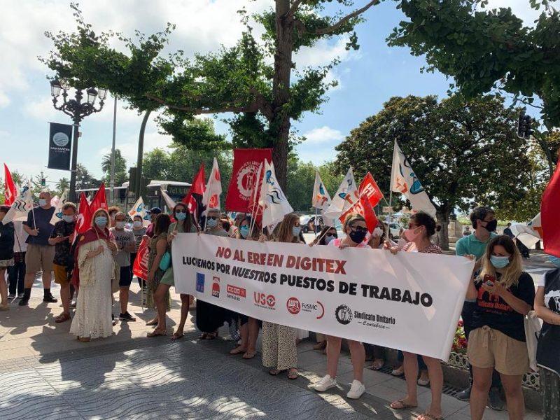 Imagen de la concentración del pasado 27 de julio, primer día de huelga de 24 horas contra el ERE de Digitex