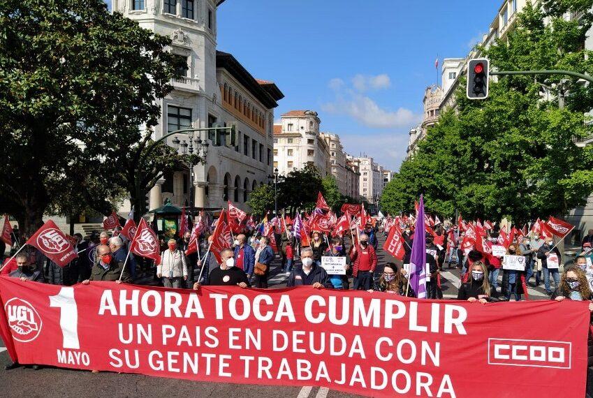 UGT y CCOO de Cantabria exigen en el 1 de Mayo recompensar a la clase trabajadora con derechos y no con promesas