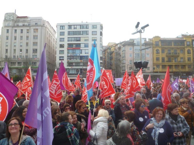 Concentración celebrada en Santander con motivo de la huelga del 8 de marzo