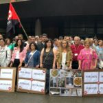 Imagen de la concentración ante el Hospital de Sierrallana