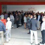 Concentración de trabajadores de Viesgo ante la sede de la compañía en el PCTCAN en Santander