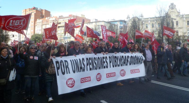 Imagen de la última movilización de los jubilados de UGT y CCOO en Cantabria