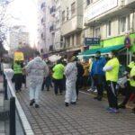 Concentración de trabajadores de Ambuibérica ante la sede del Gobierno de Cantabria en coincidencia con la huelga de hoy