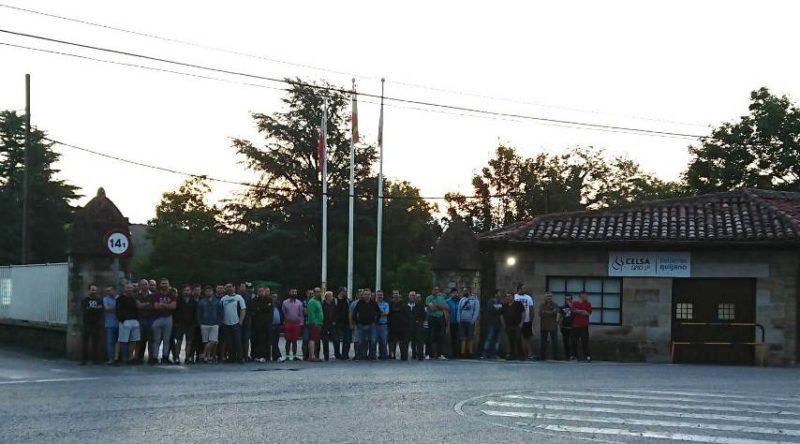 Concentración de trabajadores que han secundado hoy la huelga en GSSP