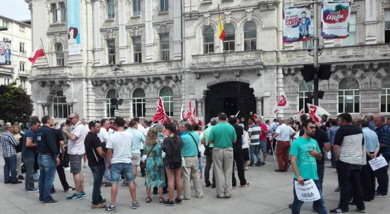 Imagen de la concentración de los trabajadores del SMTU