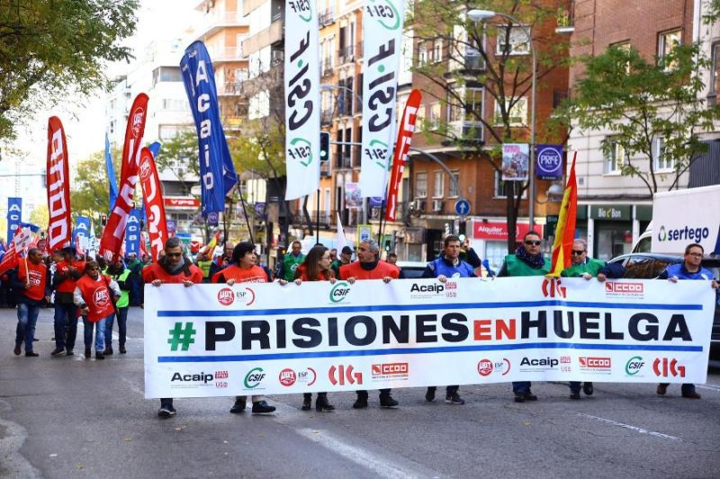 Cabecera de la manifestación de los funcionarios de los centros penitenciarios españoles