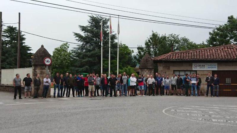 Trabajadores de Global Special Steel Products que secundaron la huelga del turno de mañana el pasado sábado