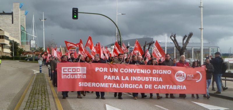 Movilización convocada por el nuevo convenio colectivo del metal en Cantabria