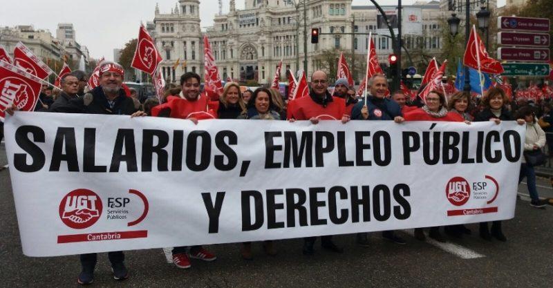 Imagen de sindicalistas cántabros de FeSP-UGT en una concentración en Madrid del sector público