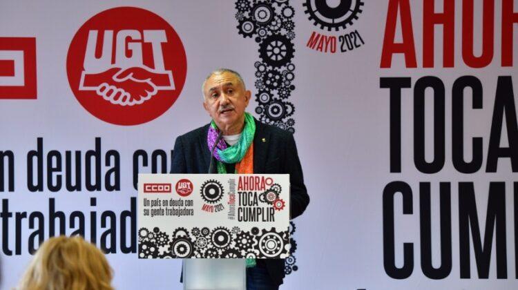 Pepe Álvarez, durante su intervención en la rueda de prensa donde se han presentado los actos conmemorativos del 1 de Mayo