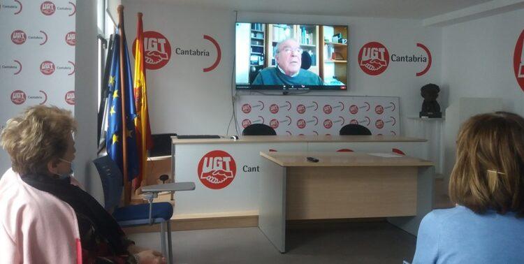 El seminario on-line se desarrolló en las sedes de UGT en Santander (imagen superior), Camargo y Torrelavega