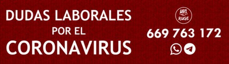Teléfono de UGT para resolver dudas laborales en una situación excepcional e inédita como la que vive España por el coronavirus