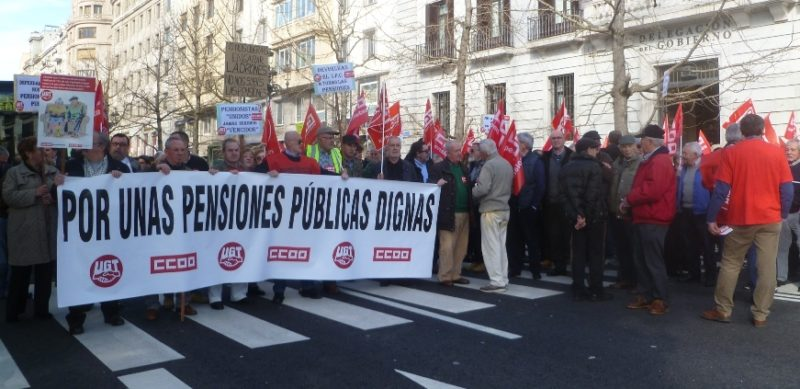 Los jubilados de UGT y CCOO proseguirán con las movilizaciones por las pensiones públicas en el mes de marzo
