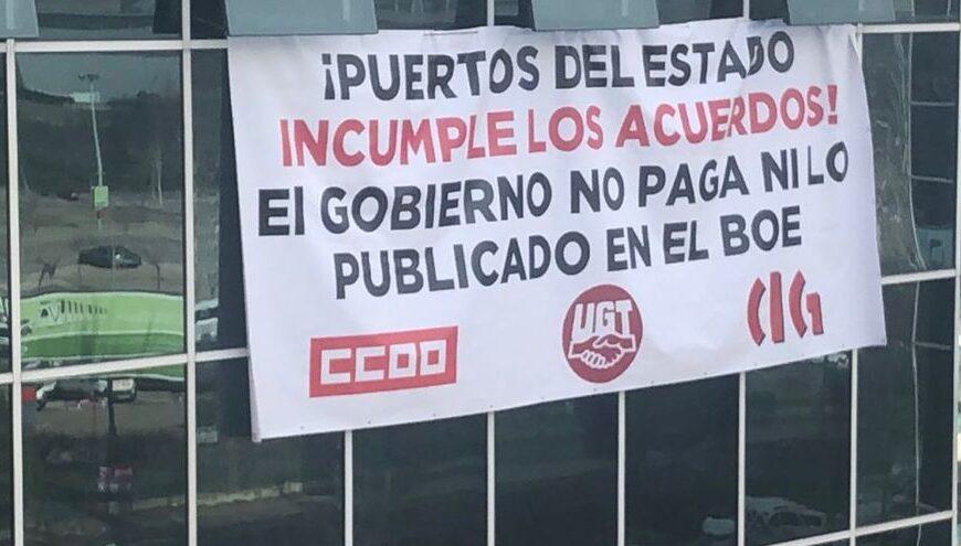 UGT, CCOO y CIG abandonan su encierro tras el compromiso de Puertos del Estado a aplicar el convenio colectivo